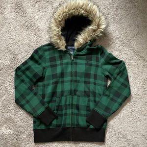 Ralph Lauren 12/14 hooded plaid jacket fur hoodie